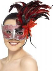 Crackle Effect Eye Mask In Red
